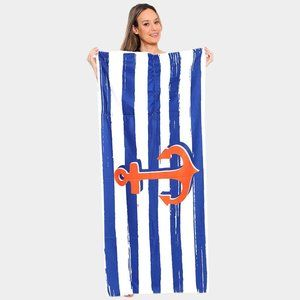 Other - Anchor Pattern Beach Towel and Drawstring Bag
